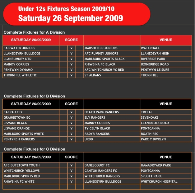 U12s Fixtures 260909
